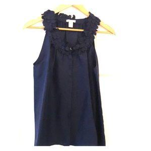 Navy silk Top
